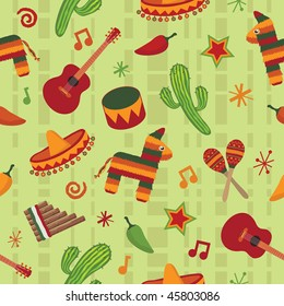 Seamless Mexican Pattern Wallpaper With Clipping Mask