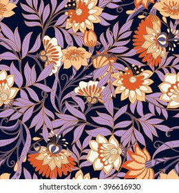 Seamless middle ages floral vintage pattern. Vector illustration.