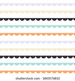 Seamless minimal pattern with multicolor scalloped. Halloween inspiration. Vector illustration, flat design