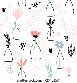 Seamless minimalistic pattern with ink flowers in vases. Creative fashion background. Perfect for fabric, wrapping, wallpaper, textile, apparel