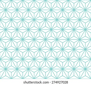 Seamless mint and white vintage japanese asanoha isometric pattern vector