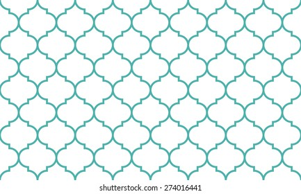 Seamless mint and white wide moroccan pattern vector