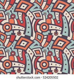 Seamless Modern Art Futuristic Pattern. Vector Background for Textile Design. Mix of Curved Lines, Rhombuses and Circles