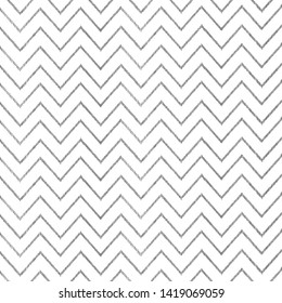 Seamless modern black and white chevron pattern with hand drawn stripes