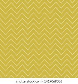 Seamless modern chevron pattern mustard dark yellow ocre hand drawn stripes background