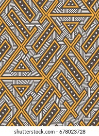 Seamless Modern Geometric Pattern. Vector Background. Mix of Triangles and Lines