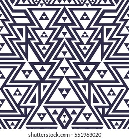 Seamless Modern Pattern. Mix of Black Triangles and Stripes on White. Vector Background for Textile Design
