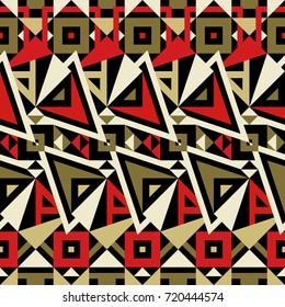 Seamless Modern Pattern. Mix of Triangles and Stripes. Vector Background for Textile Design. Geometric Abstract Texture