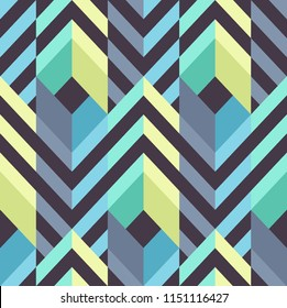 Seamless Modern Pattern with Stripes and Rhombuses. Vector Background for Textile Design. Geometric Abstract Texture