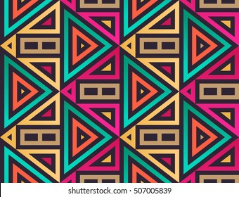 Seamless Modern Pattern with Triangles. Vector Background for Textile Design. Geometric Abstract Texture