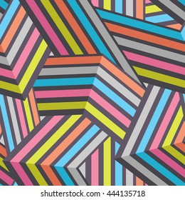 Seamless Modern Stripped Geometric Pattern. Colorful Vector Background. Mix of Tangled and Interlaced Lines