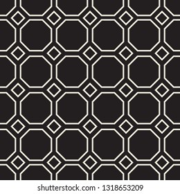 Seamless Modern Style Pattern with Outlined Octagons and Squares