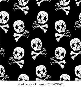 Seamless Monochromatic Star Skull Print - Repeating Background & Wallpaper