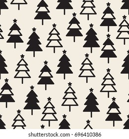 seamless monochrome christmas pattern backgrround with pine tree