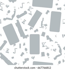 Seamless monochrome disassembled phone components vector background