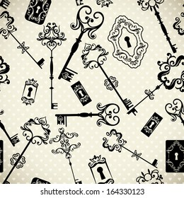 Seamless monochrome elegant pattern with vintage keys