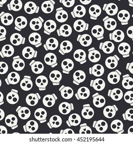 Seamless monochrome flat pattern with human skulls silhouette. Vector illustration. Elements for design. Skull. Graphic texture for design , wallpaper. Day of the dead. Gothic rock style.