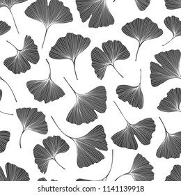 Seamless monochrome floral pattern with leaves of gingo biloba. Vector  silhouettes on white background .