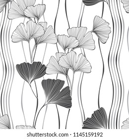 Seamless monochrome floral pattern with leaves of gingo biloba. Vector  illustration on white background .