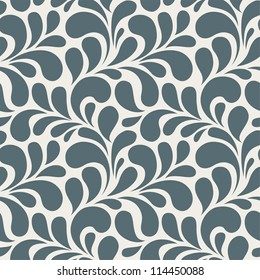 Seamless monochrome floral pattern. Vintage seamless background with blue leaves