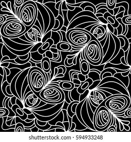Seamless monochrome floral vector pattern. Monochromatic. Black and white