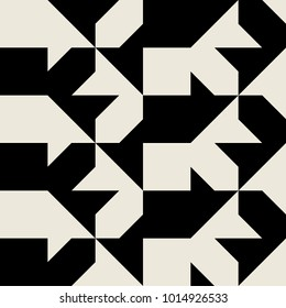 Seamless monochrome geometry vector pattern. Abstract ornament