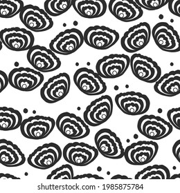 SEAMLESS MONOCHROME HAND DRAW DOODLE FLOWER LIKE A BUTTERFLY WING PATTERN BACKGROUND
