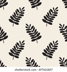 seamless monochrome hand drawn leaf pattern background