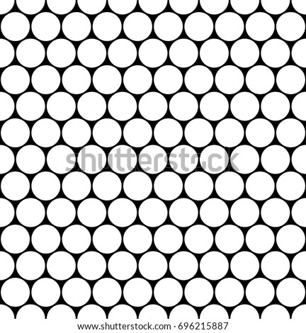 Seamless Monochrome Hexagonal Grid Pattern Circles Stock Vector