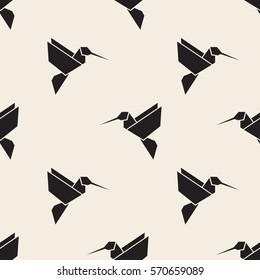 seamless monochrome origami bird pattern background