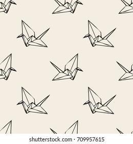 Seamless monochrome  paper origami bird pattern background