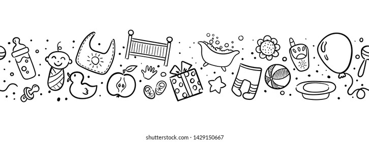 Seamless monochrome pattern with cartoon elements. Vector pattern. Baby design elements. Seamless black and white pattern with doodle baby elements. Vector baby background. Hand drawn baby pattern.