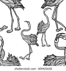 Seamless monochrome pattern with flamingo on white background. Vector illustration.