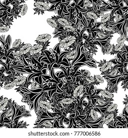 seamless monochrome pattern of flowers for greeting cards, background, price tags