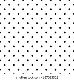 Seamless monochrome pattern with polka dots. Dotted background. Endless decorative linear round texture. Black and white decorative element. Geometric pointillist texture.