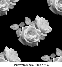 Seamless monochrome pattern with white roses on black background, vector illustration.
