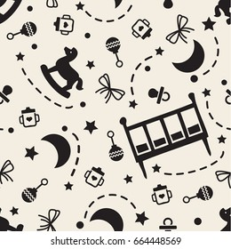 seamless  monochrome sweet dream for baby pattern background