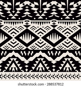 Seamless Monochrome Tribal Pattern. Ethnic Vector Background with Triangles, Rhombus and Stripes