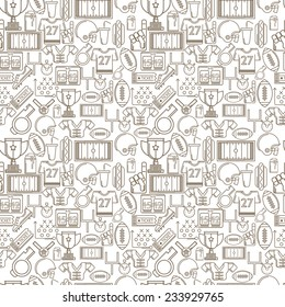 Seamless monochrome vector background for American football. Seamless vector pattern with brown outline elements or symbols for American football on white background.