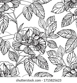 Seamless monochrome vector pattern from leaf and rose flowers