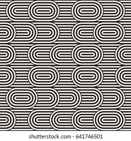 Seamless monochrome waving pattern. Abstract retro stripy background. Vector irregular round stripes design.