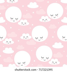 seamless moons and clouds pattern vector illustration