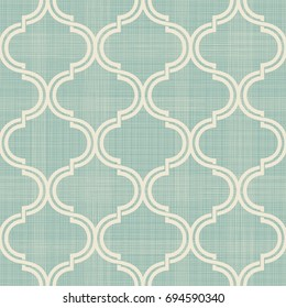 Seamless Moroccan pattern in turquoise and beige on texture background. Abstract pattern in Arabian style.