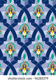 Seamless mosaic pattern in arab style with blue tone.