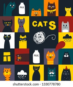 Seamless  mosaic pattern with colorful cats and kittens. Creative wallpaper for animals lovers. Endless vector wallpaper.