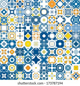 Seamless mosaic pattern made of llustrated tiles - like Portuguese tiles