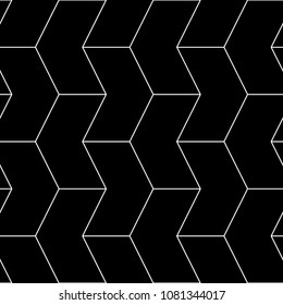 Seamless mosaic pattern. Zigzag figures ornament. Repeated puzzle shapes background. Arrows motif. Chevrons tiles wallpaper. Parquet backdrop. Digital paper, web design, textile print. Vector art work