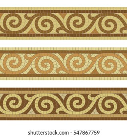Seamless mosaic tile antique Greek borders. Each element is isolated and edited. Vector 10 EPS illustration.