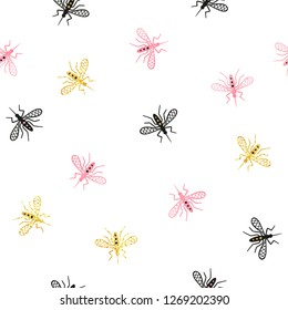 Seamless mosquito pattern. Vector background with abstract gnat.
