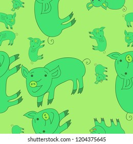 Seamless motif with pigs. Hand drawn.